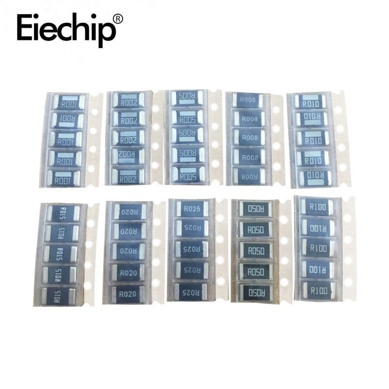 Комплект резисторов 2512 SMD высокого качества, сопротивление сплава 1%, 10 значений * 5 шт. = 50 шт. R001 R002 R005 R008 R010 R015 R020 R025 R050 R100