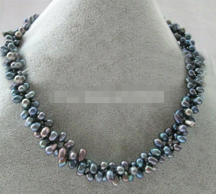 3row 7-8mm Black Baroque Freshwater Pearl Necklace