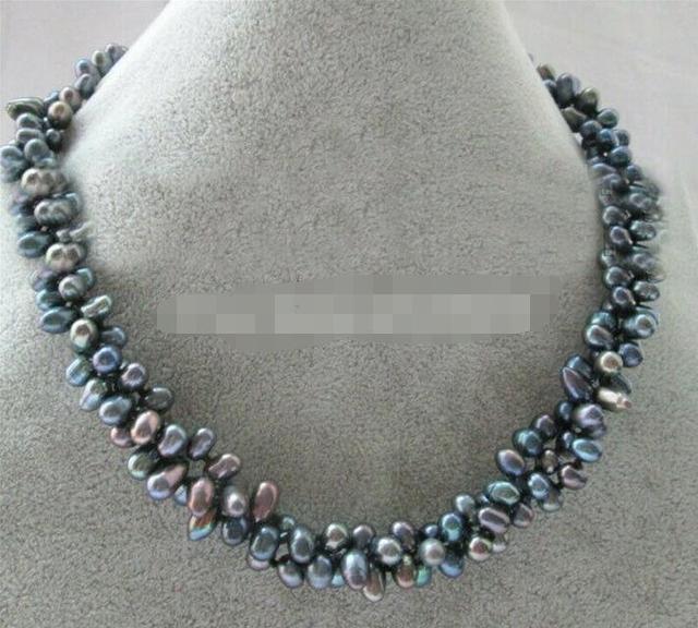 Collier de perles deau douce baroques noires 3row 7-8mm