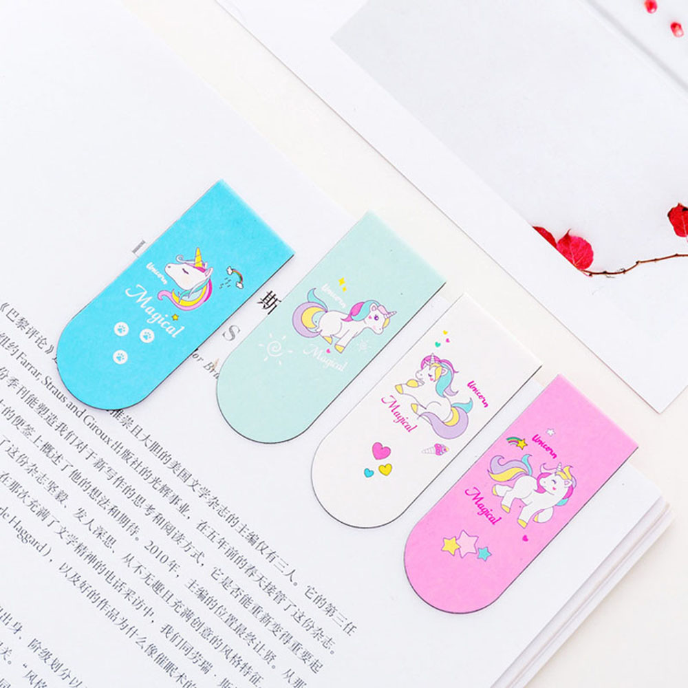 Cute Unicorn Magnetic Bookmark Marker Of Page School Office Supply Student Stationery Kids Gift