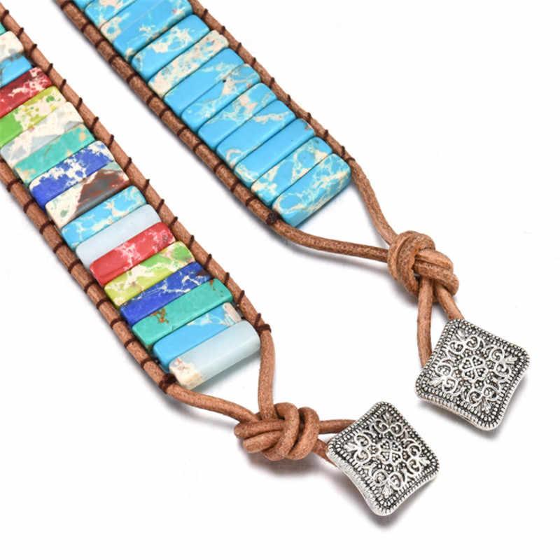 Bracelet Chakra livraison directe pour femmes bijoux faits à la main Multi couleur pierre naturelle Tube perles en cuir Wrap Couples Bracelets cadeau