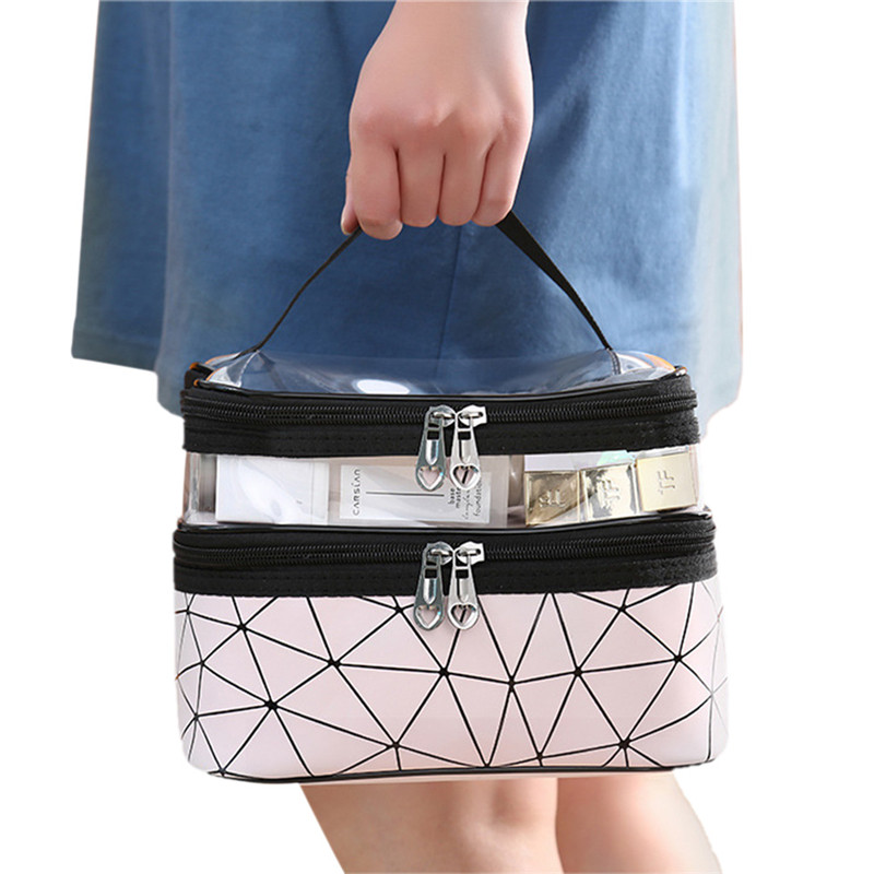 Female Handy Cosmetic Bags New Fashion Multifuctions Double Layers Warterproof Casual Make-up Storage Case Ladies' Traveling Bag