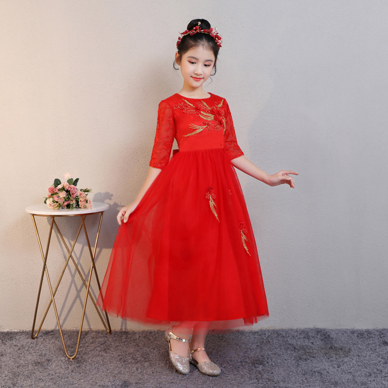 New Style Autumn Girls Princess Dress Formal Dress Catwalks Children One-piece Dress Wedding Dress Puffy Short Sleeve Host Piano