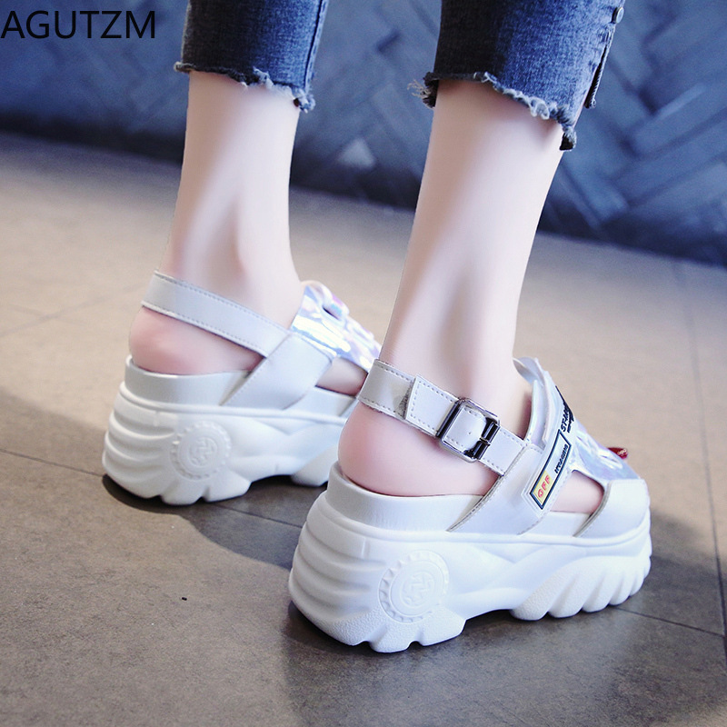 Simple Platform Shoes Womens Buckle Sandals Fashion Thick Bottom