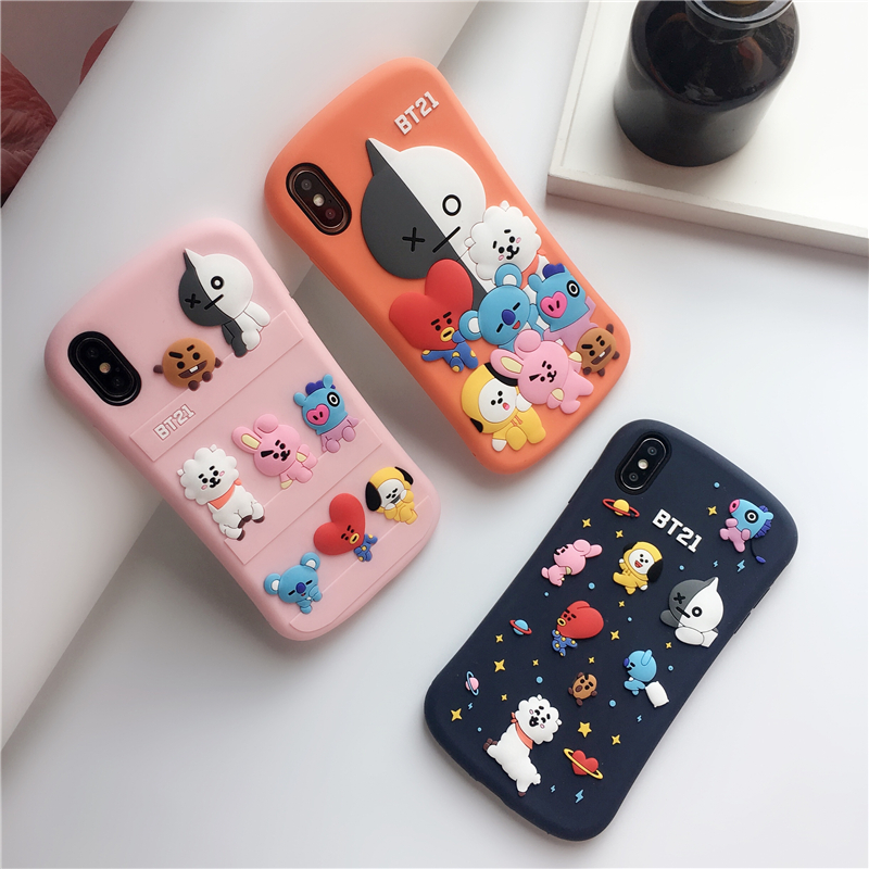 3D Cute Cartoon BT21 Phone Case For IPhone 11 11Pro XS Max XR X 6s 7 8 Plus Soft Silicone Shockproof Anti-fall Phone Cover Coque