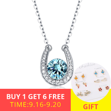 XiaoJing 100% 925 sterling silver custom necklace with horseshoe birthstone pendant necklace for women fashion jewelry wholesale цена
