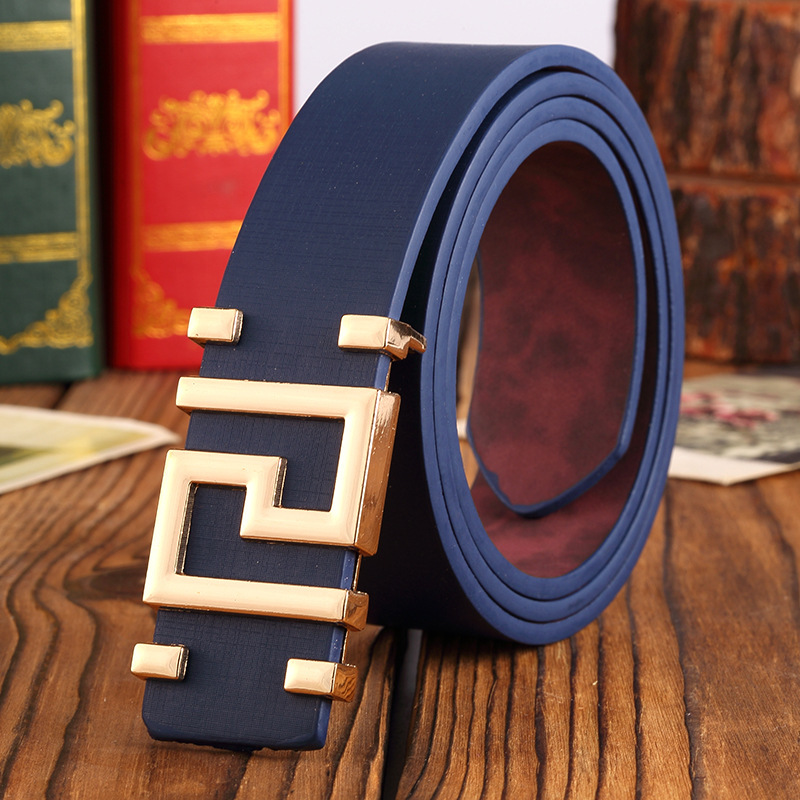 Pattern Metal Button High Quality Smooth Buckle Mens Belts . Classic Simple Korean Version Fashion Wild Belt For Women