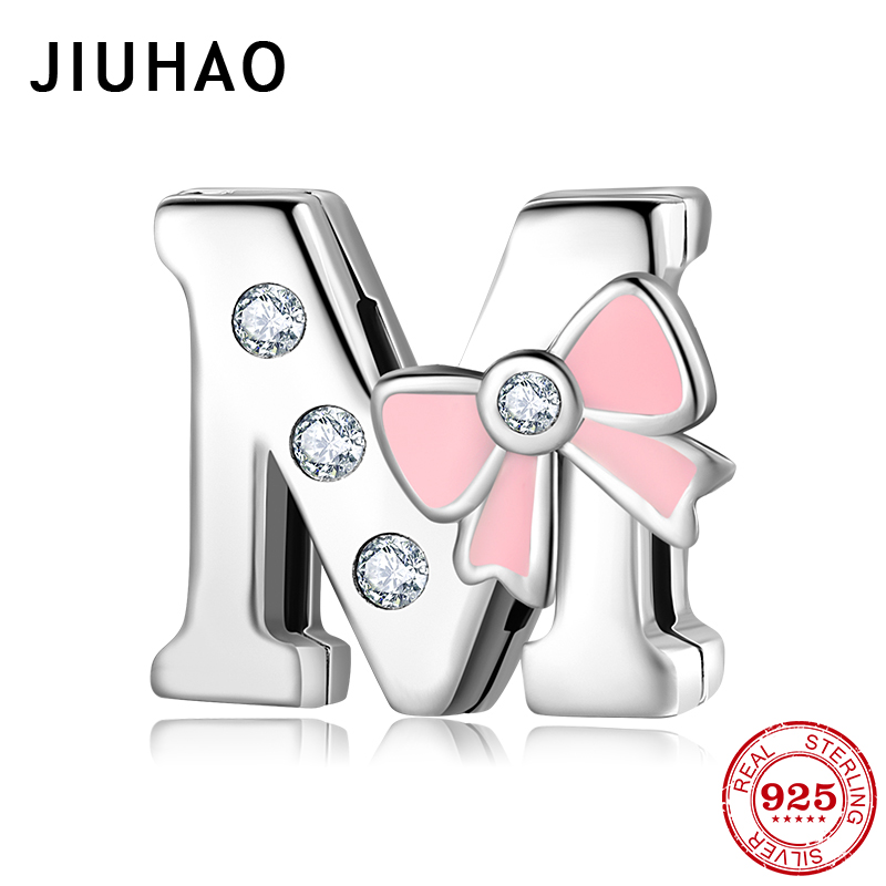 Fashion 925 Sterling Silver Sparkling CZ Letter M Clips Bead Fit Original Reflection Bracelet Jewelry Making