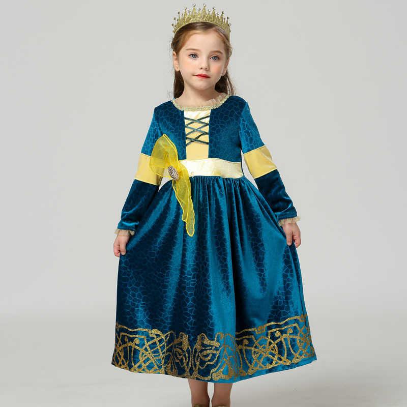 Musim Dingin Lengan Panjang Fantasia Merida Putri Gothic Dress dengan Wig Anak-anak Menyamarkan Halloween Anak Lolita Gadis Kostum Karnaval