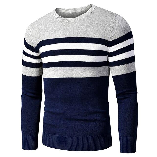 Мужской хлопковый свитер в полоску 2