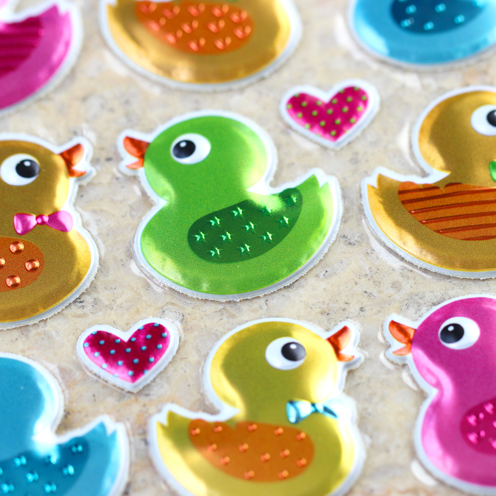 High Quality Special Gifts Reward Kid Children Toy Cute Colorful Ducks Scrapbooking Shiny Sparkle Undulate Bubble Puffy Stickers