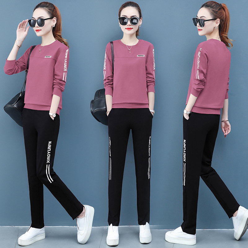 Sports Clothing Set Middle-aged Women's 2020 New Style Summer Wear Long-sleeved T-shirt Mom Spring And Autumn Casual Two-Piece S