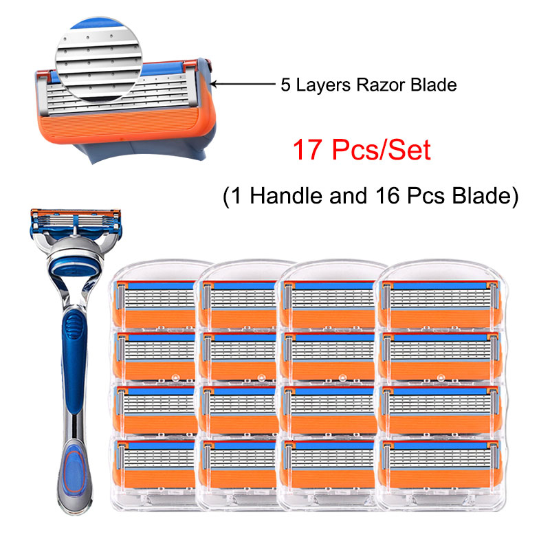 Shaving Razor Include Handle And Razor Blade Replacement Heads 5 Layers Shaving Cassette For Gillette Fusion All Series Holder