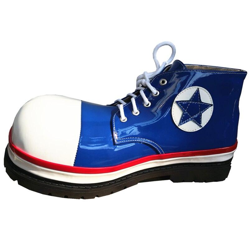 34 см Индивидуальные синие клоуны обувь для взрослых с большим круглым носком ботинки Забавный Джокер Косплей клуб аксессуары для выступлен