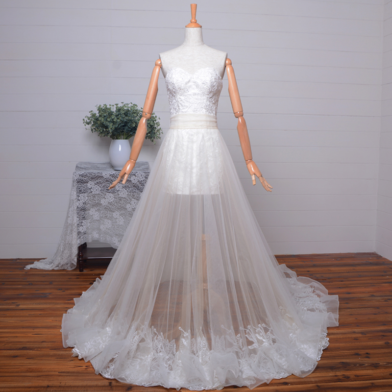 Sexy Sweetheart Long 2 Piece Prom Dresses 2015 Evening Dress Vestido De Festa Louisvuigon Woman Appliques Lace Detachable Skirt