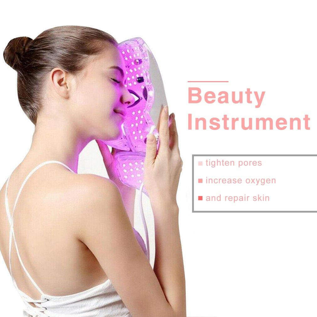 colorido led mascara facial foton rejuvenescimento da pele terapia rosto mascara pescoco luz infravermelha clarear reparacao