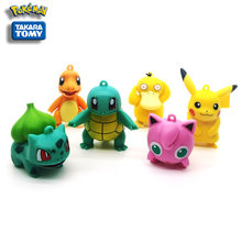 6 styles of Japanese cartoon Pokemon Charmander Psyduck Bulbasaur Pikachu, action toy model classic collectible children's gift.