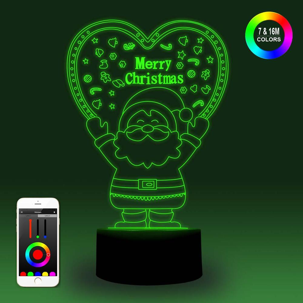 NiteApps 3D Santa Claus Holding A Heart Night Light Desk Table Illusion Lamp Holiday Birthday Gift APP/Touch Control
