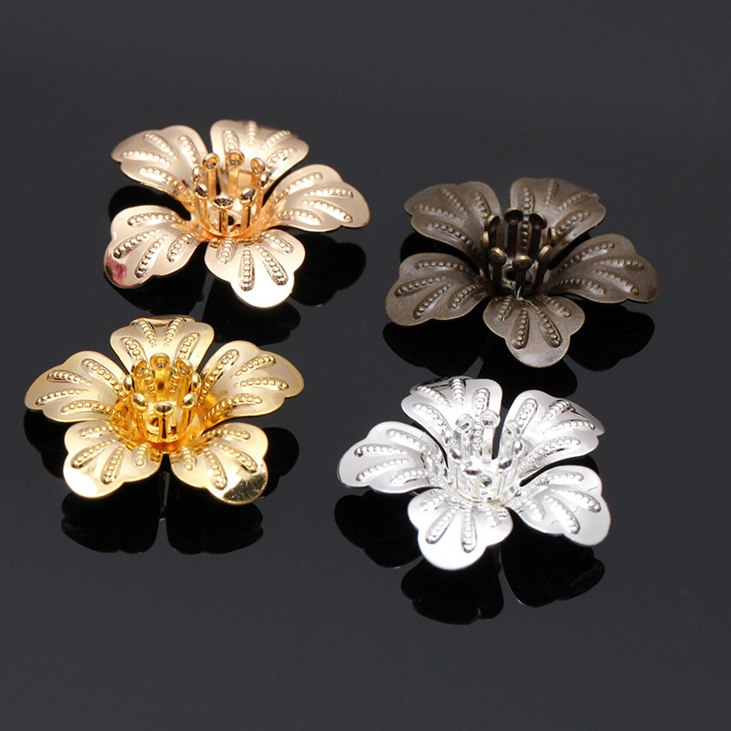 Mibrow 20pcs/lot  4 Colors 20mm Copper Flower Bead Caps Vintage Flower Filigree Loose Spacer Bead End Caps For  Jewelry Making