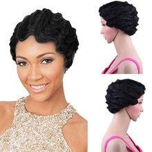 Короткий кудрявый синтетический парик для чернокожих женщин