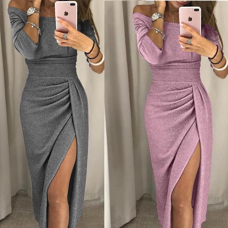 Glitter Skirt Women 2019 Elegant Party Skirts Female Shiny Slash Neck Slit Skirt Sexy Club Wrist Sleeve Skirt Vestidos