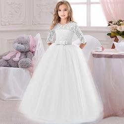 Longo casual outono inverno vestido adolescentes meninas traje rendas crianças roupas princesa festa flor crianças roupas de casamento vestidos