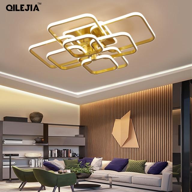 Современная Люстра для гостиной, спальни, AC85 265V, акриловая, алюминиевая, золотистая/белая/кофейная рамка, потолочные светильники