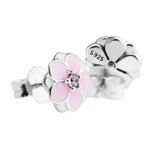 Magnolia Bloom Pink Earrings 925 Sterling Silver Jewelry For