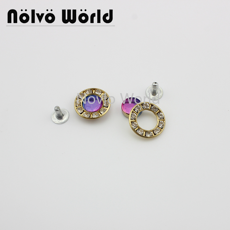 10 Pieces Test, 17mm, Rainbow Metal Decorative Buckle With Diamond Decorative Studs Handbag Rivet Screw Bags Hardware Nail