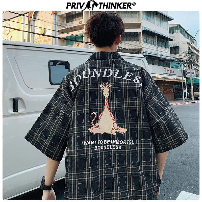 Privathinker Korean Fashion Shirts 2020 New Fashion Plaid Print Men Short Sleeve Blouse Streetwear Loose Tops Man Shirts Summer
