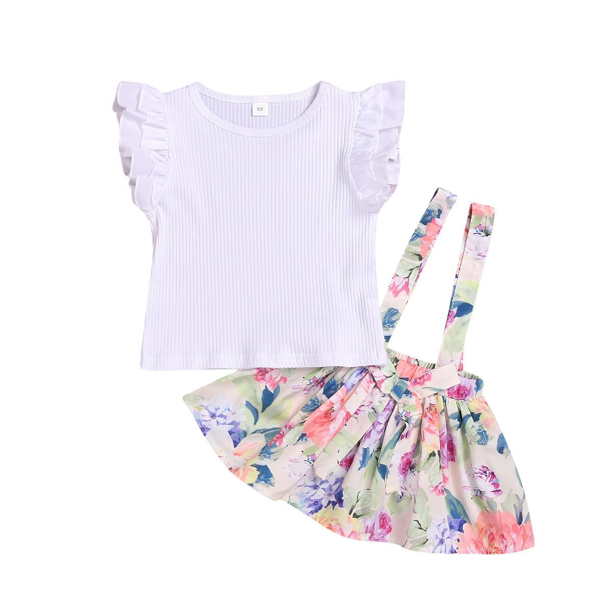 Cotton Printed Strap Dress Suit Girls Clothes L4.17 3