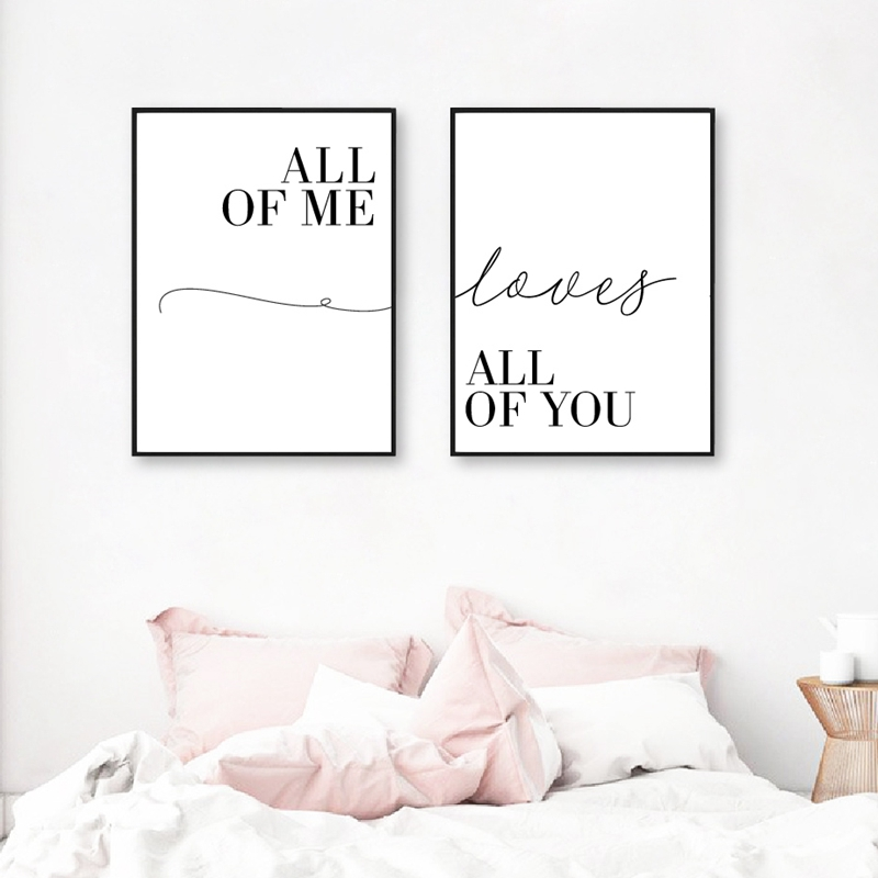 All Of Me Loves All Of You Couple Print Love Quote Poster Canvas Painting Wall Pictures Modern Bedroom Decor Anniversary Gifts