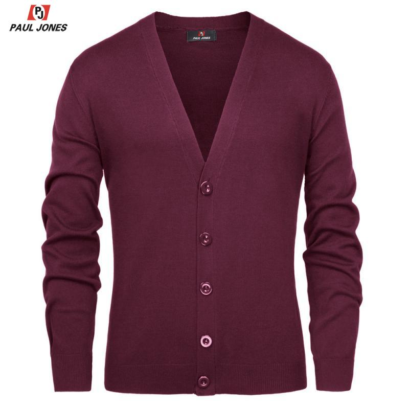 PAUL JONES Men's Causal V-Neck Button Placket Sweater Coat Knitted Cardigan With Ribbing Edge Long Sleeve Lightweight Knitwear