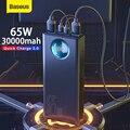 Baseus Power Bank 30000 мАч 65 Вт PD3.0 Быстрая зарядка 3,0 FCP SCP портативное Внешнее зарядное устройство для путешествий для телефона ноутбука планшета