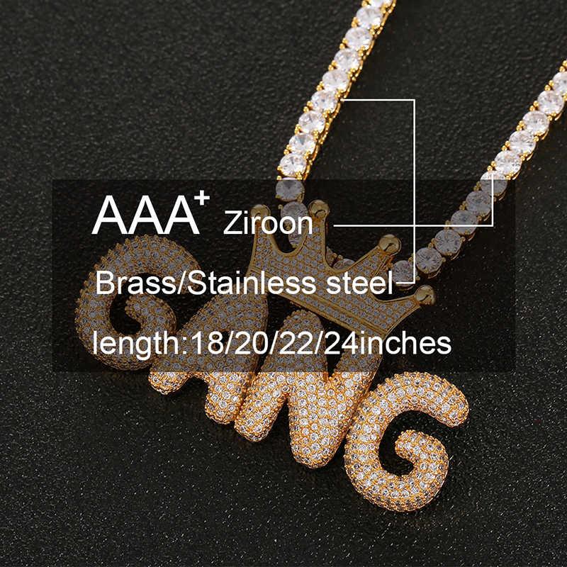 Nama Kustom Surat Crown Liontin untuk Wanita Pria Hip Hop Perhiasan Emas Perak Zirkon Kubik Gelembung Huruf dengan Kotak DROP Pengiriman