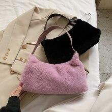 Shoulder-Bags Fur Handbag Large-Capacity Fluffy Female Soft Plush Women Solid for Warm