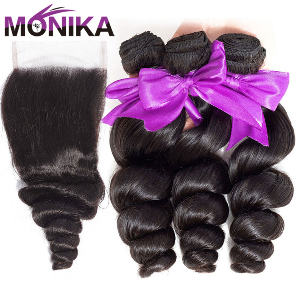 Monika Hair Loose Wave Bundles With Closure Brazilian Hair Weave 3 Bundles With Closure Non-Remy Human Hair With Closure Bundles