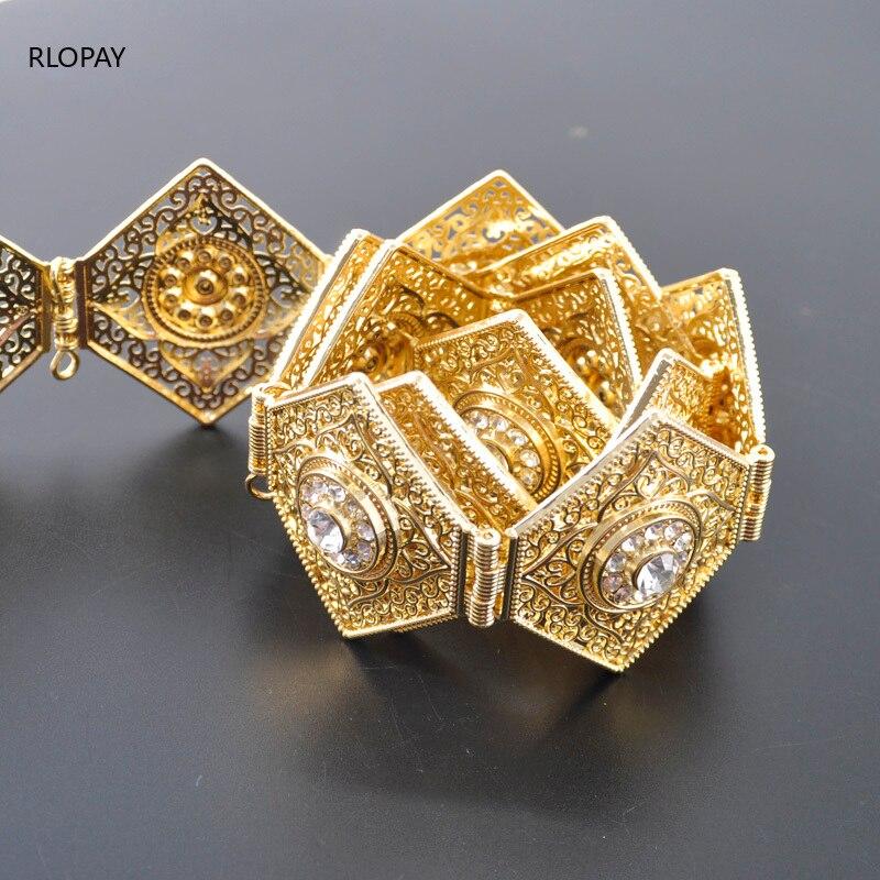 Image 4 - RLOPAY New Moroccan Fashion Kaftan Belts Crystal Grown Belts for Women Arabic Gold Waist ChainBody Jewelry