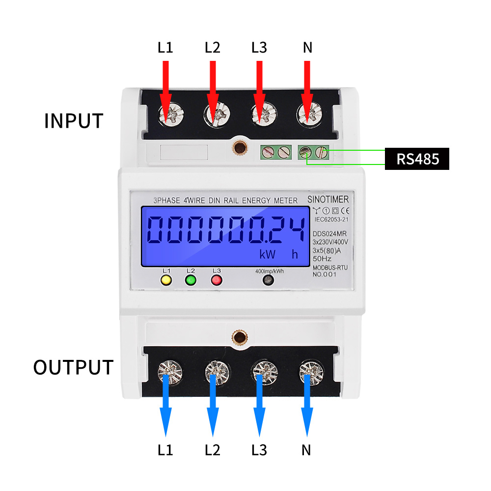 Wattmeter AC Modbus 5 Consumption 380V 80A Electronic 4 Power RS485 Multifunctional Meter Backlight 50Hz Energy 3 Wire Phase