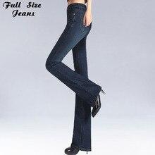 Mùa Xuân Slim Fit Plus Kích Thước Loe Quần Jean Giữa Eo Co Giãn Skinny Jean Vintage Chuông Đáy Quần Denim Quần XXL 4XL 5XL XS 6XL