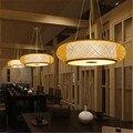 Новый китайский стиль ручной работы деревянная бамбуковая клетка подвесной светильник креативный китайский Халу гостиная чайная комната ...