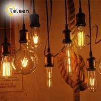 TSLEEN 6x bombilla LED Edison G45 C35 ST64 A60 LED regulable de la lámpara de la bombilla de filamento E27 E14 220V luz 8W 16W Retro luces incandescentes