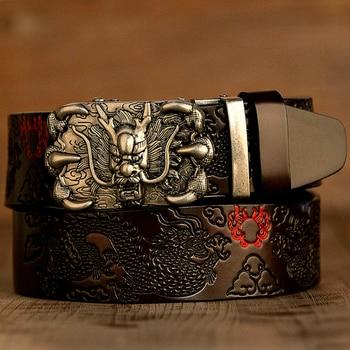 Men Belt Genuine Leather New High Quality Cowhide Handmade Men Waistbands Chinese Dragon Pressed Straps Male Designer Belts 2