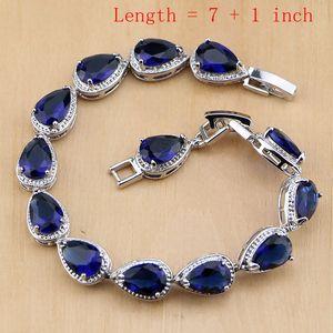 Image 2 - Rhombic Blue Crystal Jewelry White CZ 925 Sterling Silver Jewelry Sets Women Earrings/Pendant/Necklace/Ring/Bracelet