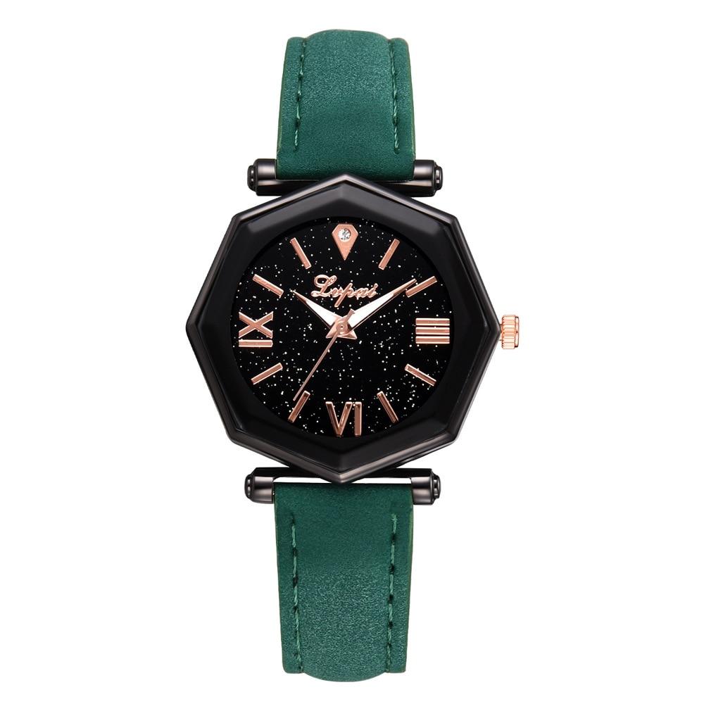 Luxury Brand Women's Watch Starry Sky Octagon Glass Leather Band Ladies Watch Wristwatch Female Clock Reloj Mujer Relogio 2020