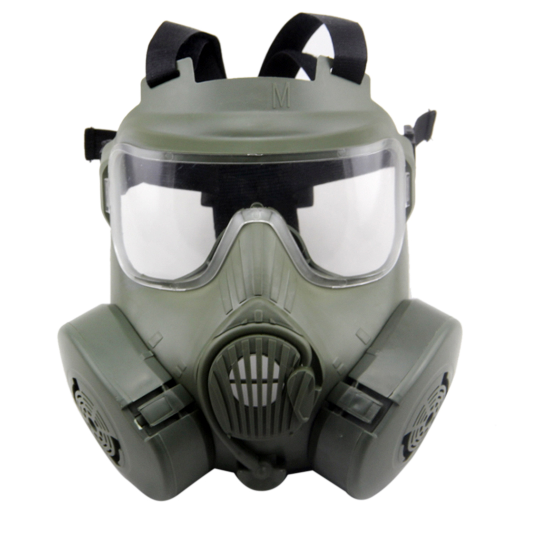 M50 Tactical Mask Wargame Paintball Full Face Skull Gas Mask CS Mask with Fan for Outdoor Airsoft Shooting Accessories- Green