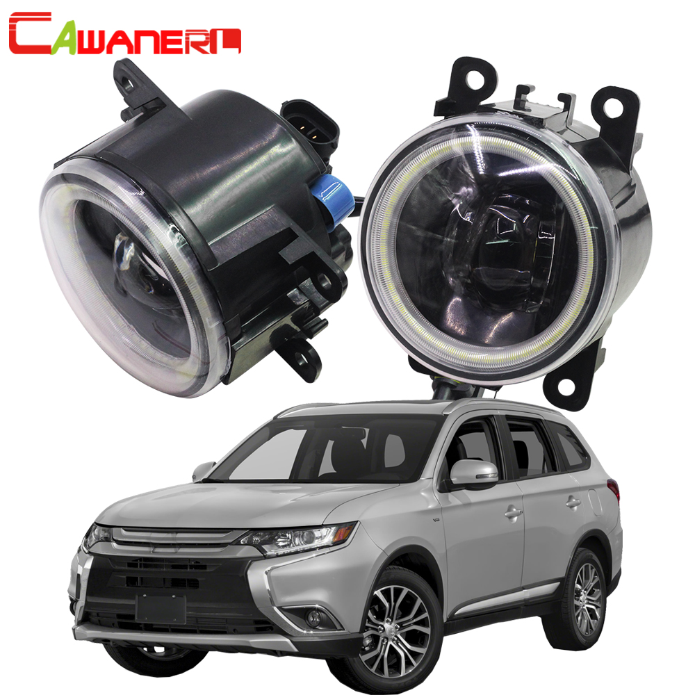 Cawanerl For <font><b>Mitsubishi</b></font> <font><b>Outlander</b></font> II CW_W Closed Off-Road Vehicle 2006-2012 Car 4000LM LED Fog <font><b>Light</b></font> Angel Eye DRL 12V 2 Pieces image