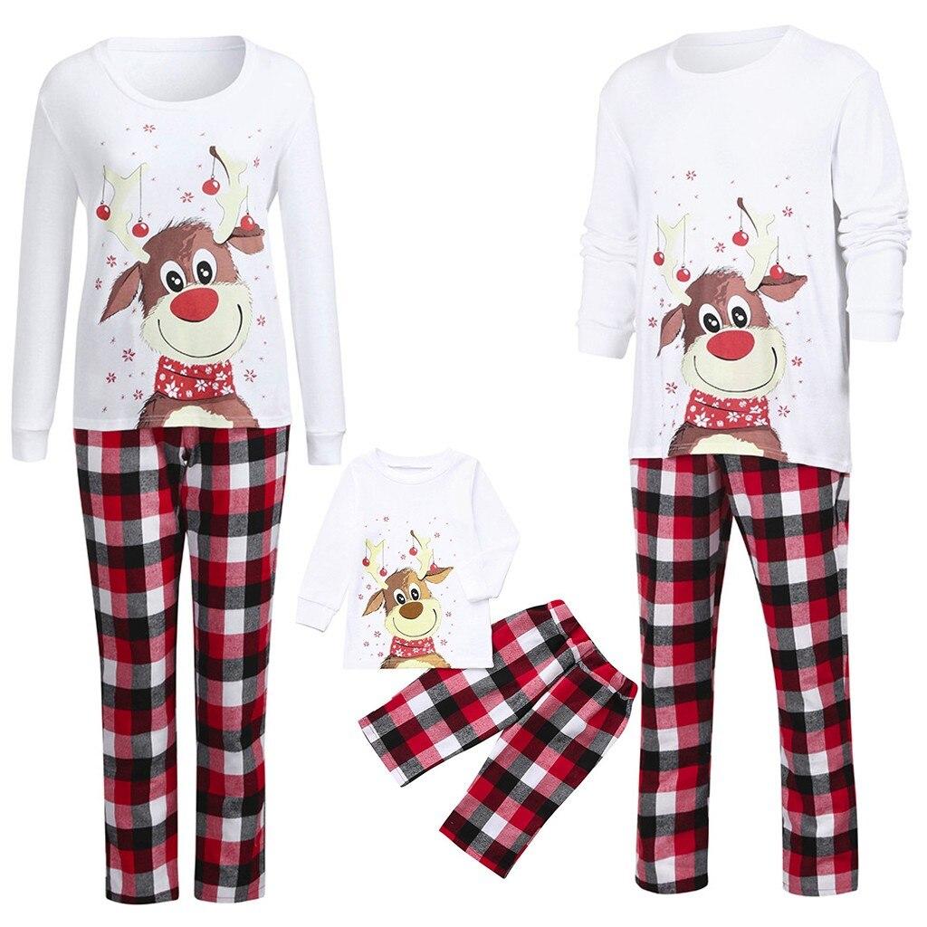 Ensemble de vêtements de noël pour la famille, hauts à manches longues + pantalon à carreaux, pyjama noël pour Parent et enfant, Se6