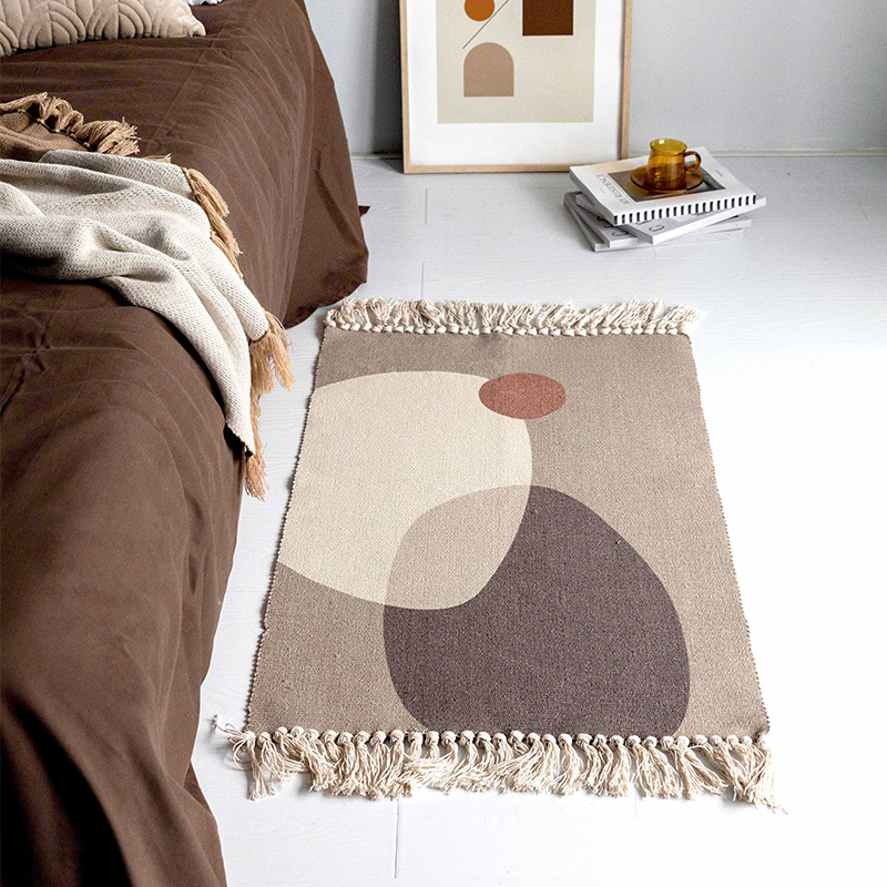 Canvas Rug Morandi Mix Colors Oblong Carpet With Tassel Area Rugs Macrame Kitchen Rug Badroom Floor Mats Nordic Chic Room Decor