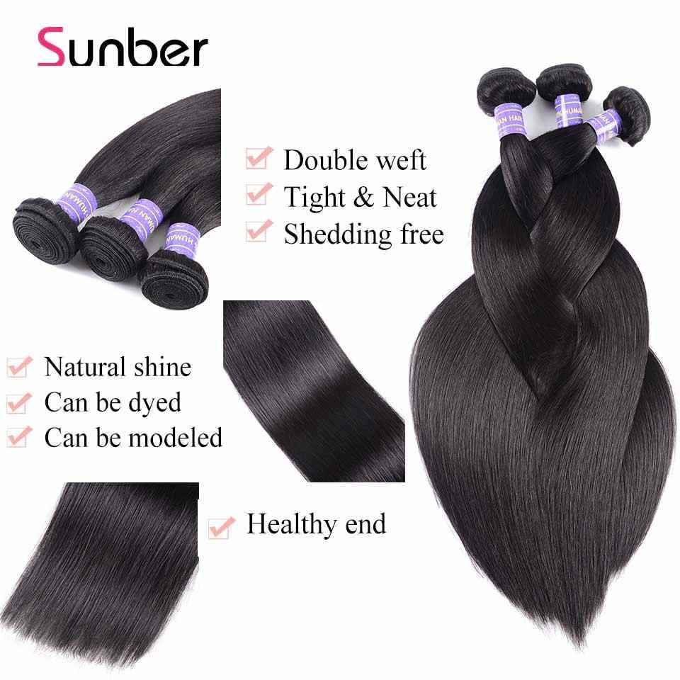 Cabello lacio brasileño SUNBER, 3 mechones, cabello Remy tejido de 8-30 pulgadas, Se puede teñir, cabello humano negro Natural, tejido de 300g